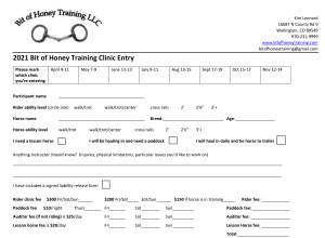 2021 Bit of Honey Training Clinic Entry